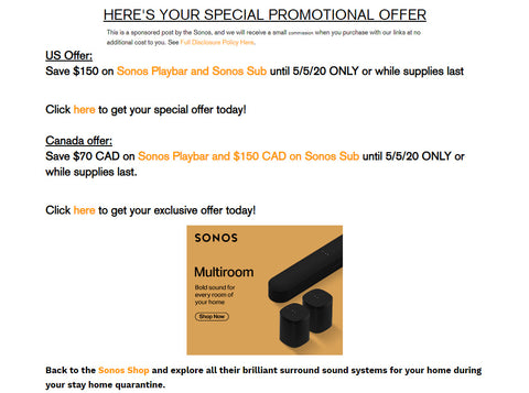 Back to the Sonos Shop and explore all their brilliant surround sound systems for your home during your stay home quarantine.
