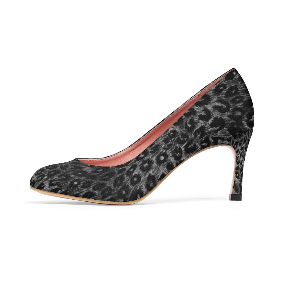 "Black Leopard Women's High Heels, Wild Animal Print 3 inch Fashion Heel Shoes For Ladies-Shoes-Printify-US 6.5-Heidi Kimura Art LLC Black Leopard Women's High Heels, Grey Dark Leopard Wild Animal Print Women's 3"" High Heels Pumps Shoes (US Size: 5-11)"