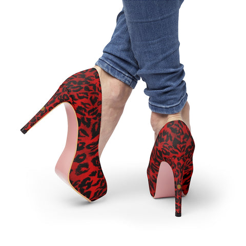 Hot Red Snow Leopard Animal Print Women's Platform Heels Pumps (US Size: 5-11)-4 inch Heels-Heidi Kimura Art LLC