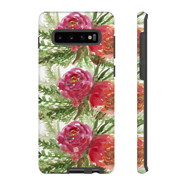 Red Orange Floral Phone Case, Flower Print Tough Designer Phone Case -Made in USA-Phone Case-Printify-Samsung Galaxy S10 Plus-Matte-Heidi Kimura Art LLC