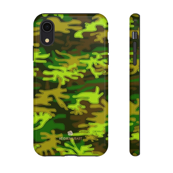 Green Camouflage Phone Case, Army Military Print Tough Designer Phone Case -Made in USA-Phone Case-Printify-iPhone XR-Glossy-Heidi Kimura Art LLC