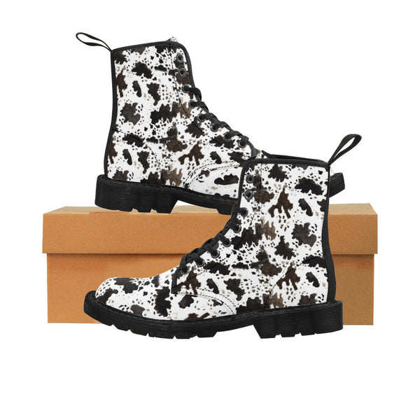 Brown Cow Women's Boots, Brown Cow Print Animal Pattern High Quality Nylon Canvas Women's Winter Boots Shoes, (US Size: 6.5-11) Brown Cow Print Animal Pattern Nylon Canvas Women's Winter Boots Shoes-Women's Boots-Black-US 9-Heidi Kimura Art LLC
