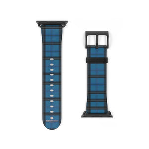 Blue Black Plaid Tartan Print Premium 38mm/42mm Designer Watch Band- Made in USA-Watch Band-38 mm-Black Matte-Heidi Kimura Art LLC Blue Plaid Apple Watch Band, Blue Black Plaid Tartan Print Pattern 38 mm or 42 mm Premium Best Printed Designer Top Quality Faux Leather Comfortable Elegant Fashionable Smart Watch Band Strap, Suitable for Apple Watch Series 1, 2, 3, 4 and 5 Smart Electronic Devices - Made in USA
