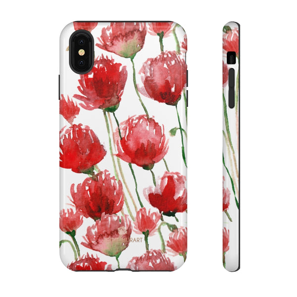 Red Tulips Floral Tough Cases, Roses Flower Print Best Designer Phone Case-Made in USA-Phone Case-Printify-iPhone XS MAX-Glossy-Heidi Kimura Art LLC