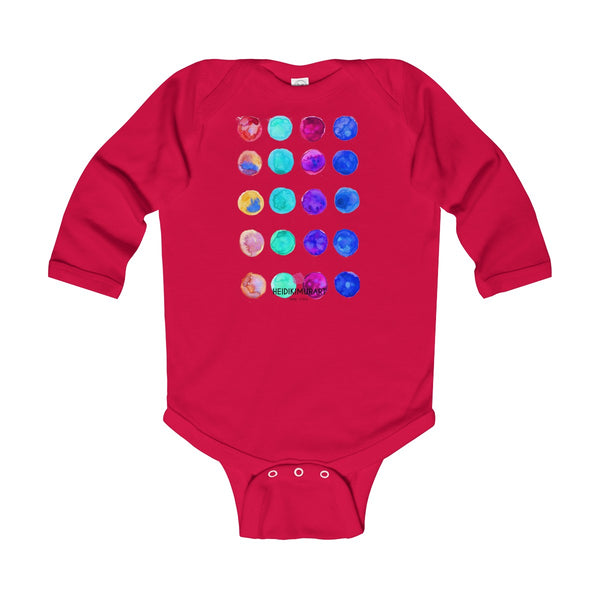 Polka Dots Printed Cute Super Soft Cotton Infant Long Sleeve Bodysuit - Made in UK-Kids clothes-Red-12M-Heidi Kimura Art LLC