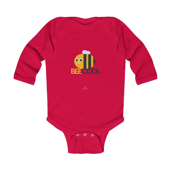 Bee Infant Long Sleeve Bodysuit, Be Cool Cute Baby Boy or Girls Kids Clothes- Made in USA-Infant Long Sleeve Bodysuit-Red-NB-Heidi Kimura Art LLC