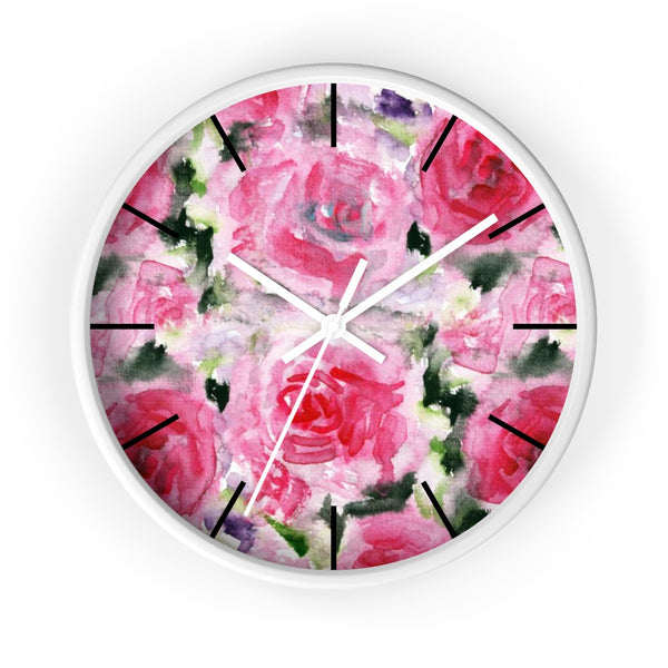 Pink Garden Rose Floral Rose Flower Print 10 inch Diameter Wall Clock - Made in USA-Wall Clock-White-White-Heidi Kimura Art LLC