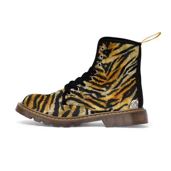 Tiger Striped Animal Skin Pattern Designer Women's Winter Lace-up Toe Cap Boots-Women's Boots-Brown-US 10-Heidi Kimura Art LLC