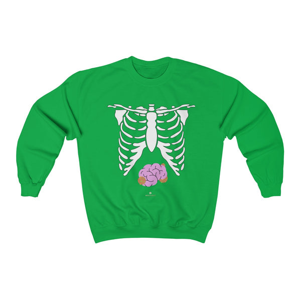 White Skeleton Torso Halloween Unisex Heavy Blend Crewneck Sweatshirt-Made in USA-Long-sleeve-Irish Green-S-Heidi Kimura Art LLC