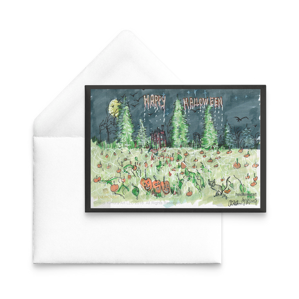 Halloween Greeting Flat Post Card Pumpkin Patch Pacific Northwest Inspired, Sets of 10 pcs, 30pcs, 50 pcs-Cards-Heidi Kimura Art LLC