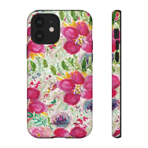 Pink Floral Designer Tough Cases, Mixed Flower Print Best Designer Case Mate Best Tough Phone Case For iPhones and Samsung Galaxy Devices-Made in USA