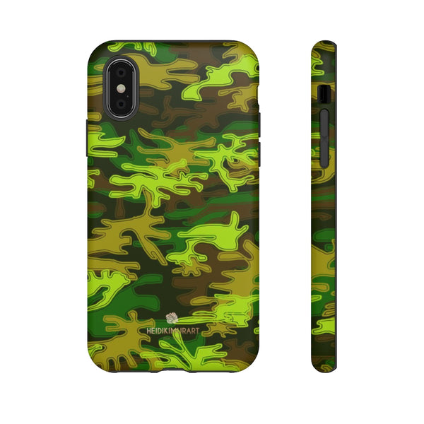 Green Camouflage Phone Case, Army Military Print Tough Designer Phone Case -Made in USA-Phone Case-Printify-iPhone XS-Matte-Heidi Kimura Art LLC