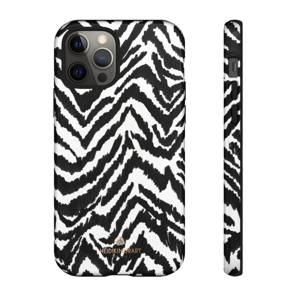 White Tiger Stripe Phone Case, Animal Print Best Tough Designer Phone Case -Made in USA-Phone Case-Printify-iPhone 12 Pro-Glossy-Heidi Kimura Art LLC