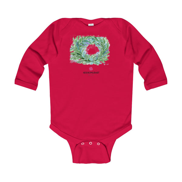 French Lavender Floral Print Baby's Infant Long Sleeve Bodysuit - Made in UK-Kids clothes-Red-12M-Heidi Kimura Art LLC