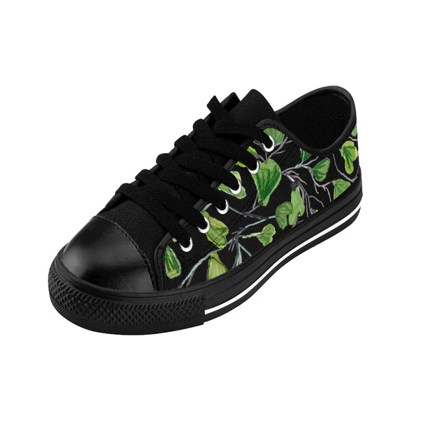 Black Green Maidenhair Men's Sneakers, Best Tropical Leaf Print Men's Low Top Tennis Shoes-Shoes-Printify-Heidi Kimura Art LLC