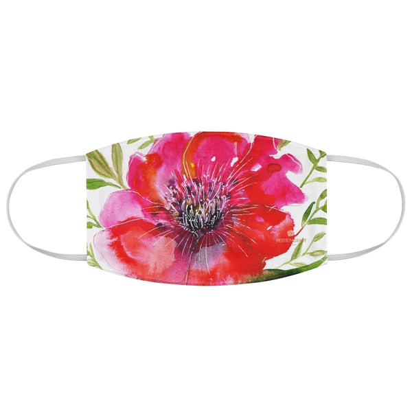 "Red Hibiscus Floral Face Mask, Adult Flower Print Modern Fabric Face Mask-Made in USA-Accessories-Printify-One size-Heidi Kimura Art LLC Red Hibiscus Floral Print Face Mask, Flower Elegant Designer Fashion Face Mask For Men/ Women, Designer Premium Quality Modern Polyester Fashion 7.25"" x 4.63"" Fabric Non-Medical Reusable Washable Chic One-Size Face Mask With 2 Layers For Adults With Elastic Loops-Made in USA"