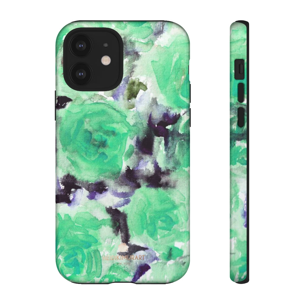 Turquoise Floral Print Tough Cases, Designer Phone Case-Made in USA-Phone Case-Printify-iPhone 12-Glossy-Heidi Kimura Art LLC