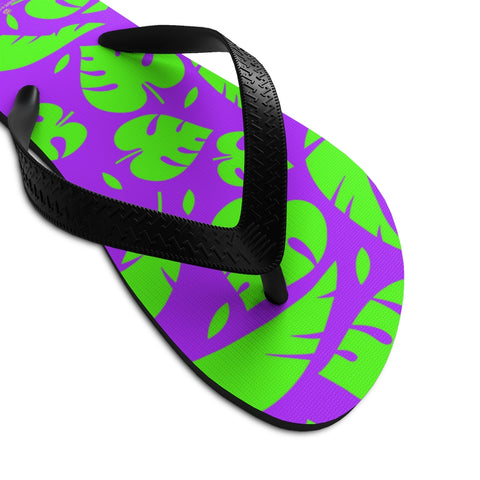 Purple Green Tropical Leaf Print Unisex Flip-Flops Sandals For Men/ Women- Made in USA-Flip-Flops-Small-Heidi Kimura Art LLC