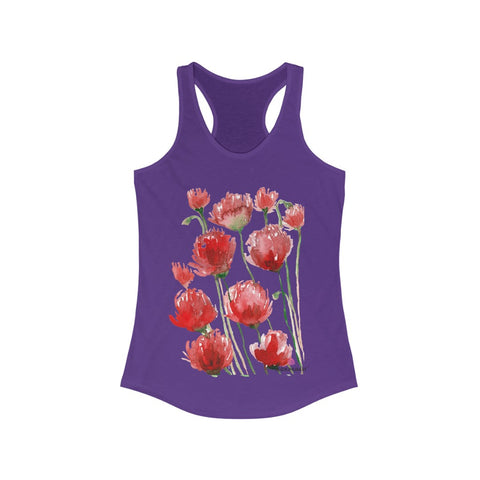 Black Red Poppy Tank Top, Best Women's Ideal Slim-Fit Racerback Tank - Made in USA (US Size: XS-2XL) Best Floral Print Red Poppies Tank Top, Watercolor Poppy Flower Print Tank Top