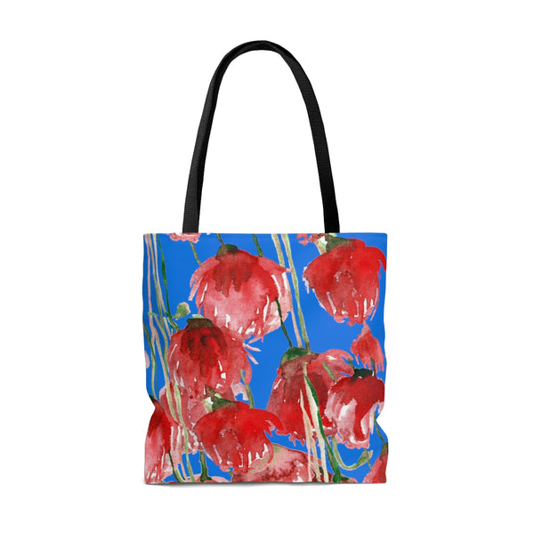 Sky Blue Pacific Northwest Red Tulip Flower Floral Designer Tote Bag - Made in USA-Tote Bag-Heidi Kimura Art LLC