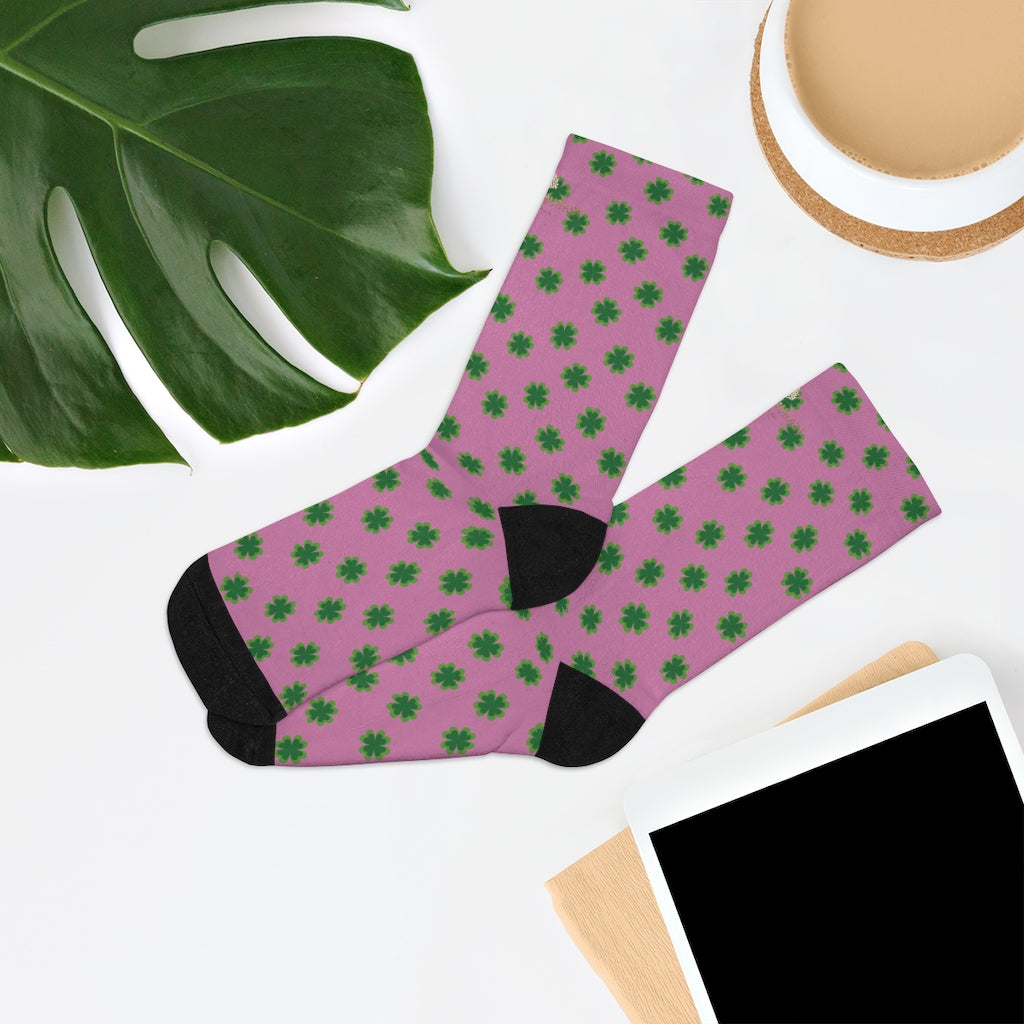 Pink Green St. Patrick's Day Clover Print Unisex One Size Socks- Made in USA-Socks-One size-Heidi Kimura Art LLC
