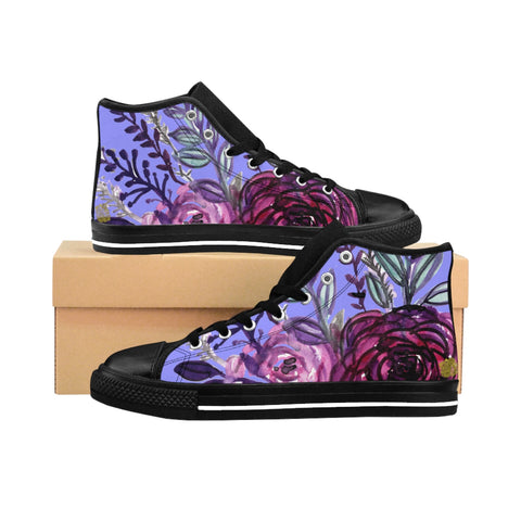 Nozo Romantic Purple Rose Floral Print Designer Women's High-top Sneakers Tennis Running Shoes (US Size: 6-12)