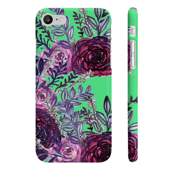 Lime Green Slim iPhone/ Samsung Galaxy Floral Purple Rose Phone Case, Made in UK-Phone Case-iPhone 7, iPhone 8 Slim-Glossy-Heidi Kimura Art LLC