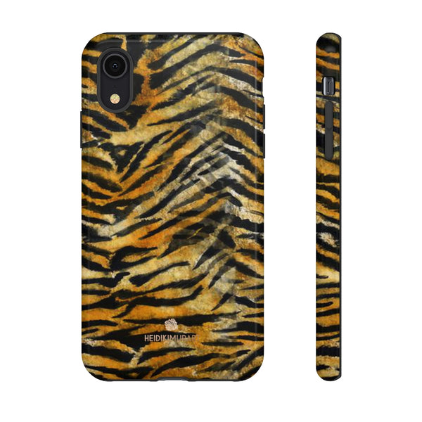 Orange Tiger Striped Phone Case, Animal Print Tough Cases, Designer Phone Case-Made in USA-Phone Case-Printify-iPhone XR-Glossy-Heidi Kimura Art LLC