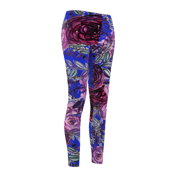 Navy Blue Floral Print Women's Tights / Casual Leggings - Made in USA(US Size: XS-2XL)-Casual Leggings-Heidi Kimura Art LLC