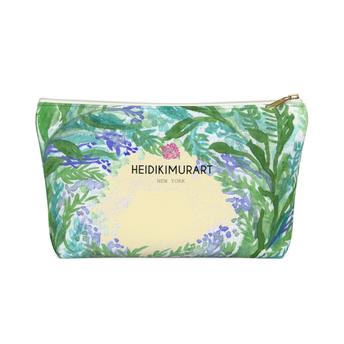 Yellow Purple French Lavender Floral Print Designer Accessory Pouch with T-bottom-Accessory Pouch-White-Small-Heidi Kimura Art LLC