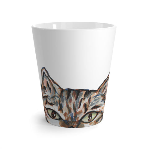 Hiding Peanut Cat Cup, Cute Cat 12 oz Latte Mug, Peanut Meow Cat Best White Ceramic Coffee Cup, Ceramic Latte Mug, Microwave-Safe, Dishwasher-Safe Tea Coffee Cup -Printed in USA, Cat Coffee Mug, Best Cat Mugs, Great Gifts For Cat Lovers