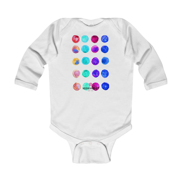 Polka Dots Printed Cute Super Soft Cotton Infant Long Sleeve Bodysuit - Made in UK-Kids clothes-White-12M-Heidi Kimura Art LLC