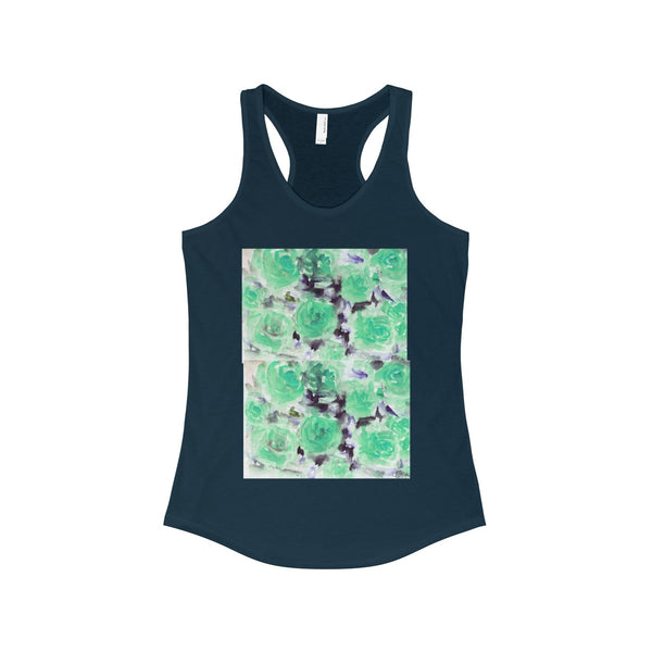Nobusuke Ice Blue Rose Floral Women's Ideal Racerback Tank -Made in the U.S.A. (US Size: XS-2XL)-Tank Top-Solid Midnight Navy-XS-Heidi Kimura Art LLC