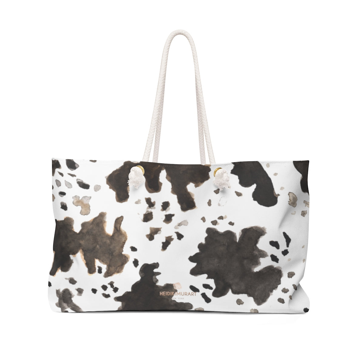 "Cow Animal Print Black Brown White 24""x13"" Large Size Weekender Oversized Tote Bag-Weekender Bag-24x13-Heidi Kimura Art LLC"