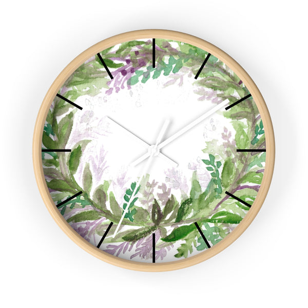 French Lavender Purple Floral Rose Print 10 inch Diameter Wall Clock - Made in USA-Wall Clock-Wooden-White-Heidi Kimura Art LLC