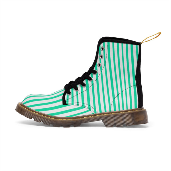 Turquoise Blue Women's Canvas Boots, White Blue Striped Designer Winter Boots For Ladies-Shoes-Printify-Heidi Kimura Art LLC