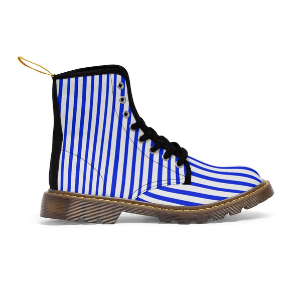 Blue Striped Print Men's Boots, Blue White Stripes Best Hiking Winter Boots Laced Up Shoes For Men-Shoes-Printify-Heidi Kimura Art LLC