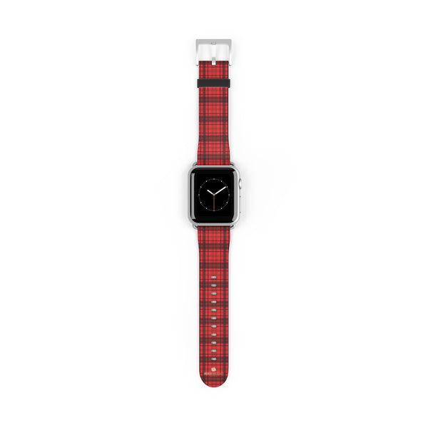 Scottish Red Tartan Plaid Print 38mm/42mm Watch Band For Apple Watch- Made in USA-Watch Band-38 mm-Silver Matte-Heidi Kimura Art LLC