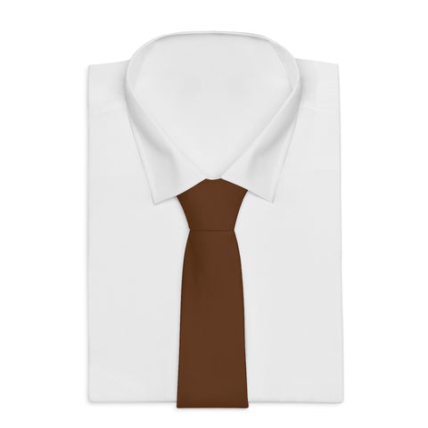 Brown Classic Solid Color Printed Soft Satin Finish Necktie Tie - Made in USA-Necktie-One Size-Heidi Kimura Art LLC