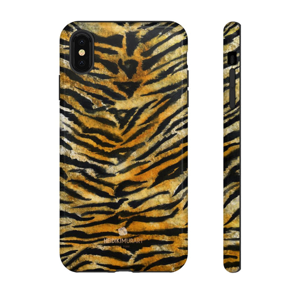 Tiger Stripe Print Phone Case, Animal Print Tough Designer Phone Case -Made in USA-Phone Case-Printify-iPhone XS MAX-Glossy-Heidi Kimura Art LLC