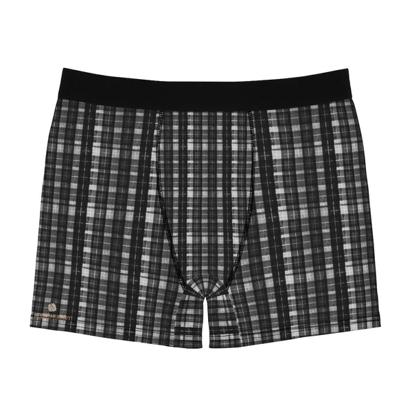 Black Plaid Print Men's Underwear, Printed Tartan Plaid Printed Sexy Underwear For Men Sexy Hot Men's Boxer Briefs Hipster Lightweight 2-sided Soft Fleece Lined Fit Underwear - (US Size: XS-3XL)