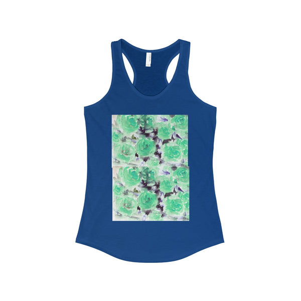 Nobusuke Ice Blue Rose Floral Women's Ideal Racerback Tank -Made in the U.S.A. (US Size: XS-2XL)-Tank Top-Solid Royal-XS-Heidi Kimura Art LLC