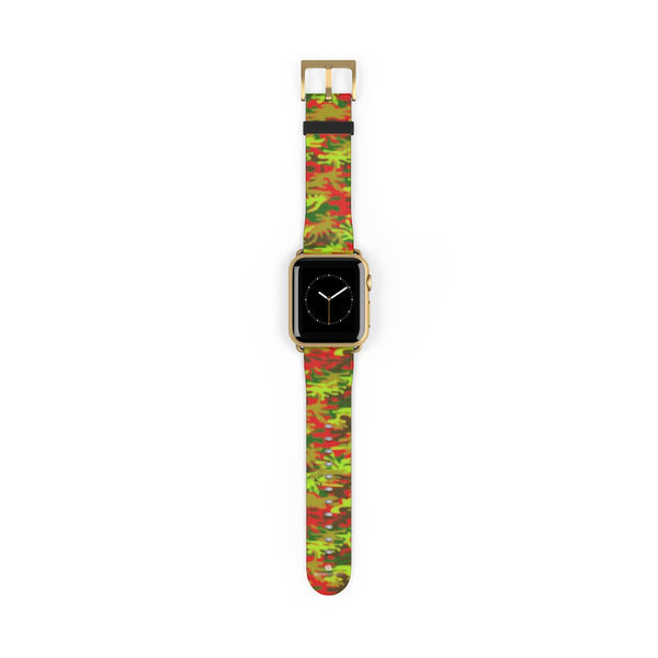 Red Green Red Camo Print 38mm/42mm Watch Band For Apple Watches- Made in USA-Watch Band-38 mm-Gold Matte-Heidi Kimura Art LLC