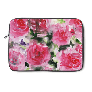 "Reddish Pink Rose Floral Print 12', 13"", 14"" Laptop Sleeve - Designed + Made in the USA-Laptop Sleeve-12""-Heidi Kimura Art LLC"