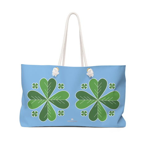 "Light Blue Green Clover Leaf St. Patrick's Day Irish Print 24""x13""Weekender Bag- Made in USA-Weekender Bag-24x13-Heidi Kimura Art LLC"