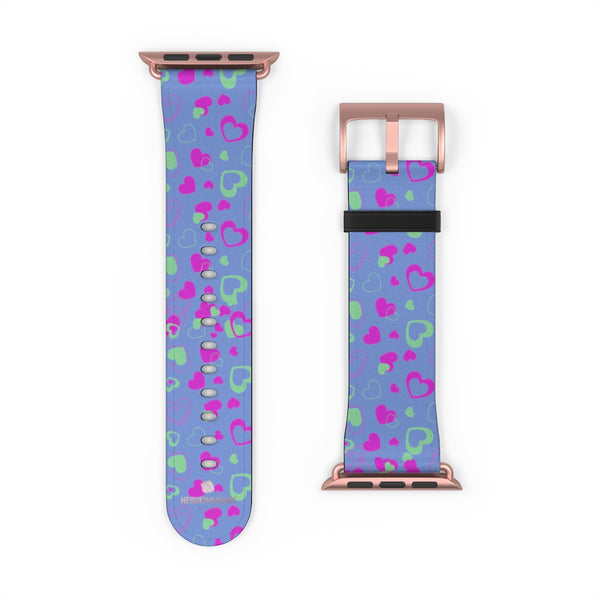 Light Violet Purple Pink Hearts 38mm/42mm Watch Band For Apple Watch- Made in USA-Watch Band-Heidi Kimura Art LLC