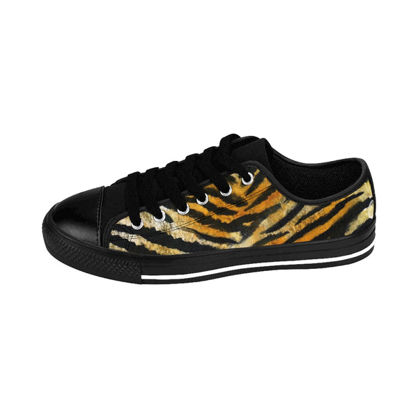 Brown Tiger Striped Men's Low Tops, Animal Print Designer Men's Low Top Sneakers Shoes-Men's Low Top Sneakers-Heidi Kimura Art LLC