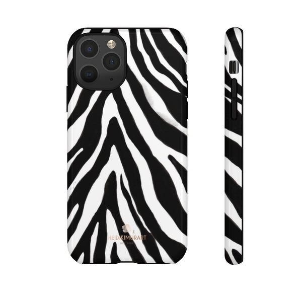 Zebra Stripe Phone Case, Animal Print Tough Designer Phone Case -Made in USA-Phone Case-Printify-iPhone 11 Pro-Glossy-Heidi Kimura Art LLC
