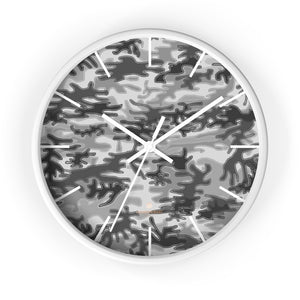 Gray Camo Camoflage Military Print Large Unique Indoor Wall Clocks- Made in USA-Home Decor-10 in-White-White-Heidi Kimura Art LLC