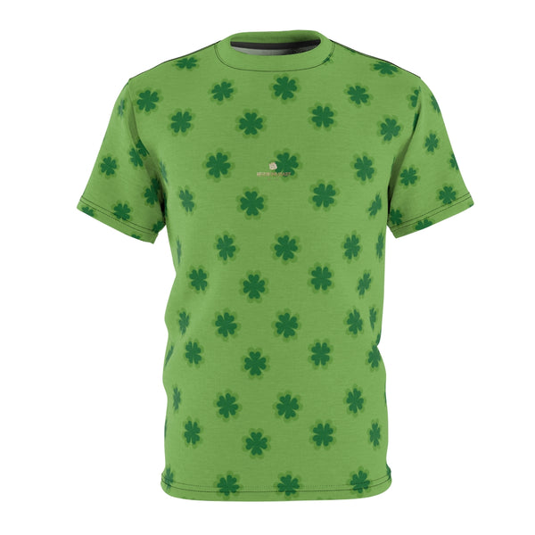 Light Green Clover St. Patrick's Day Print Unisex Crew Neck Cut & Sew Tee- Made in USA-Unisex T-Shirt-4 oz.-Black Seams-S-Heidi Kimura Art LLC